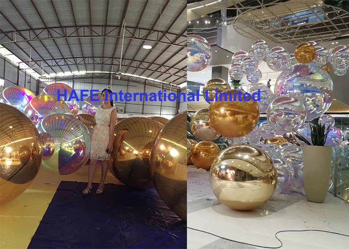 Golden Laser Dazzle Inflatable Mirror Balloon 1m 1.5m 2m 2.5m 3m For Dubai Royal Events Use